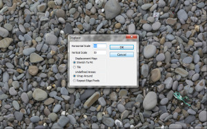 Tutorial screen shot - displace riverbed texture